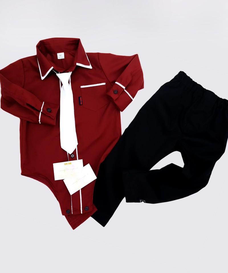 Bordowa bodo-koszulka i spodnie, ubranko na święta