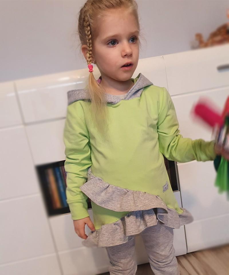 Dres dla dziewczynki pistacjowo-popielaty z uszami misia
