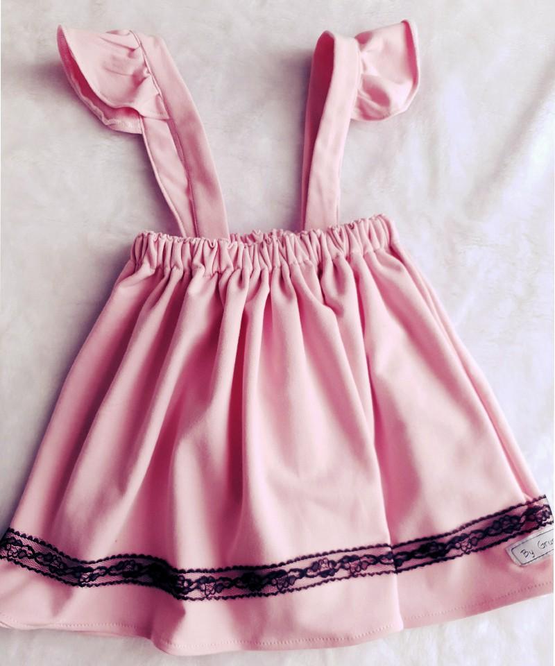 spódniczka różowa dla dziewczynki z szelkami