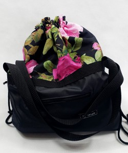 Torbo plecak czarny z kwiatami