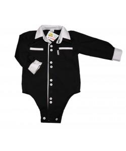 Czarna bodo-koszulka z białymi dodatkami dla dziecka