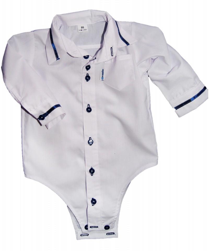Bodo-koszulka biała z granatową tasiemka dla dziecka
