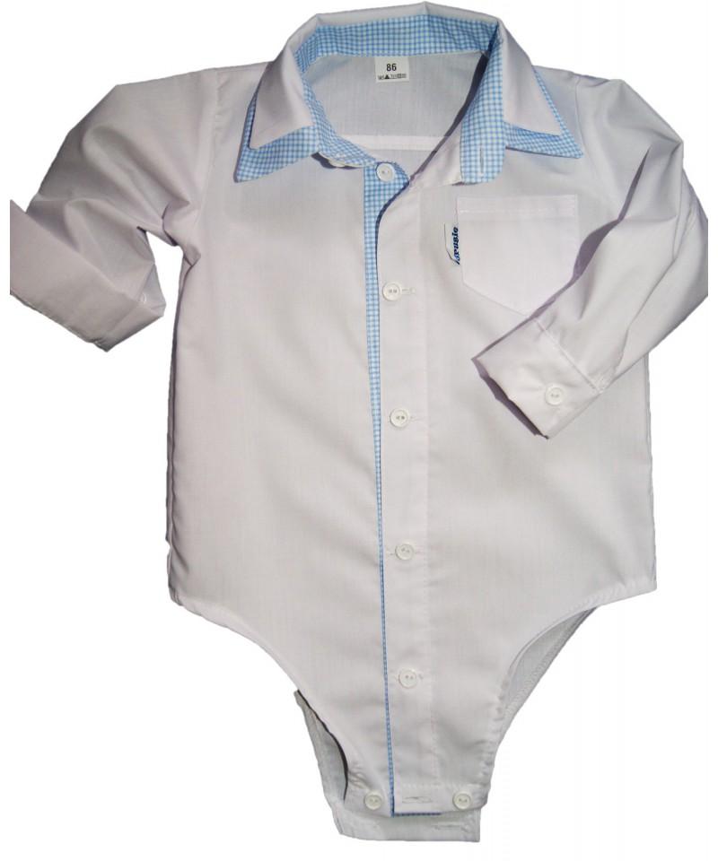 bodo-koszulka biała z dodatkiem w krateczkę dla chłopca