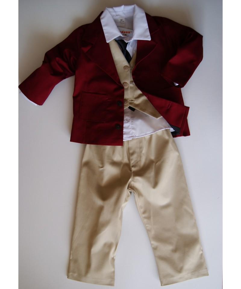 Bordowo-kremowy garnitur dla chłopca na roczek