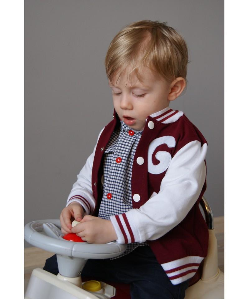 Bluza bordowo-biała dla dziecka