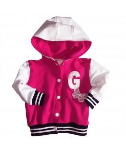 Bluza bejsbolówka biało-różowa dla dziewczynki