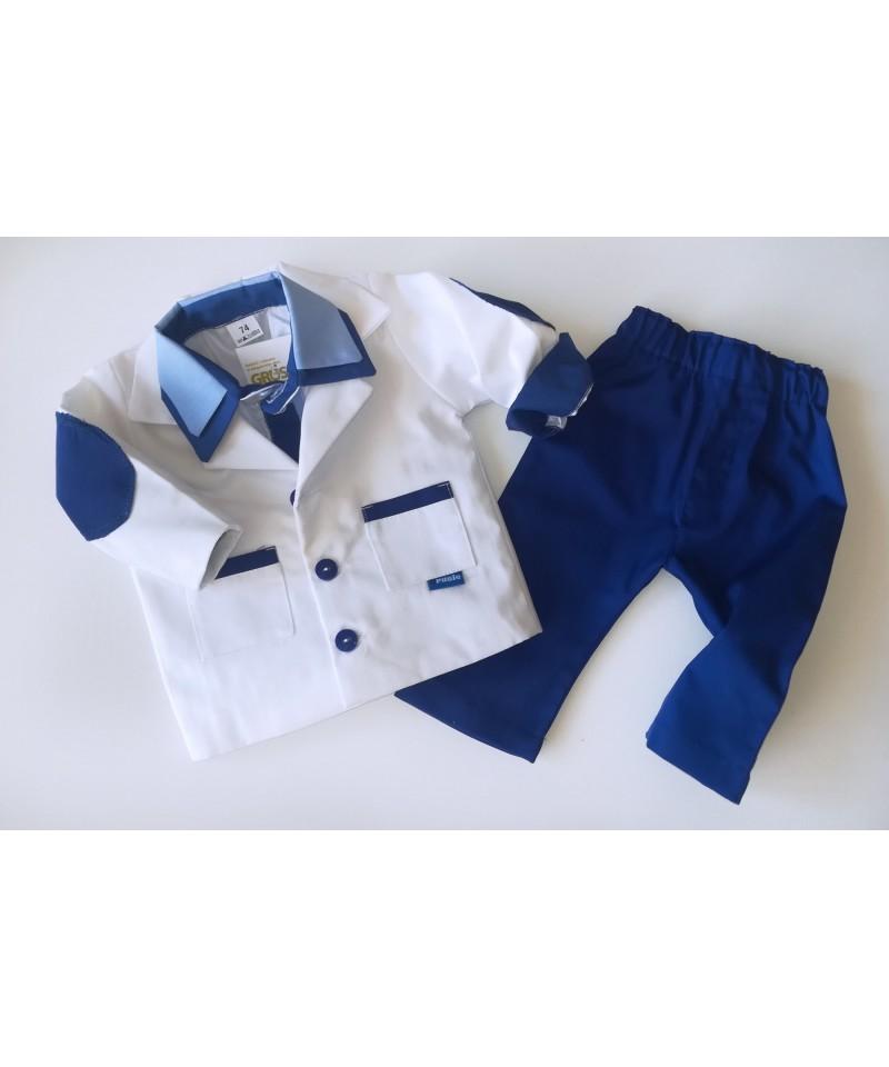 Biało-granatowe ubranko wizytowe dla dziecka