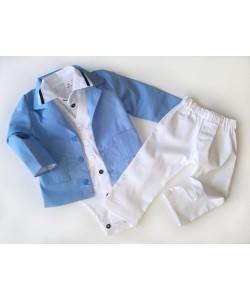 Biało niebieski garniturek dla chłopców do chrztu lub na roczek