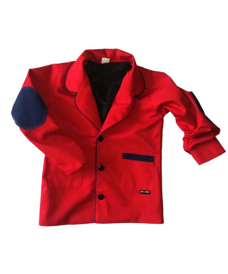 marynarka czerwona z łatami dla chłopca