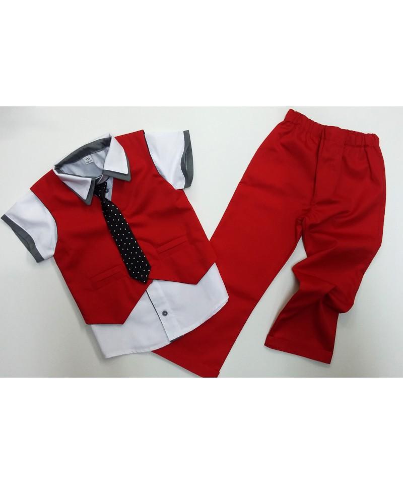 kamizelka i spodnie czerwone