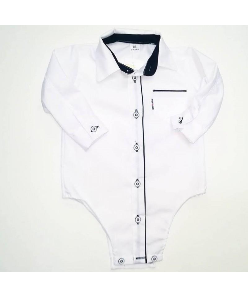 Bodo-koszulka biała z czarnymi wstawkami dla dziecka