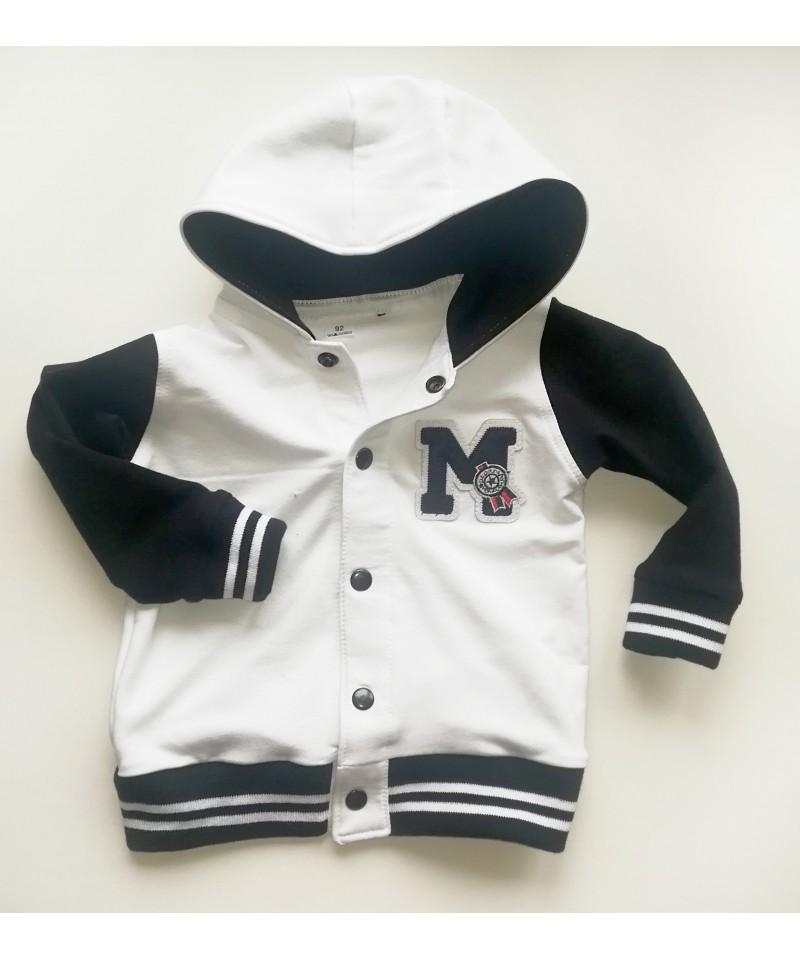 bluza bejsbolówka biało-czarna dla dziecka