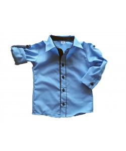 Koszula niebieska z podwijanymi rękawami