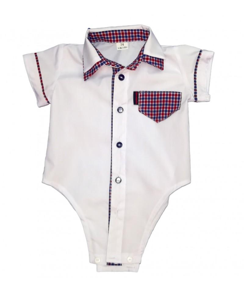 Koszulo-body z krótkim rękawem, białe