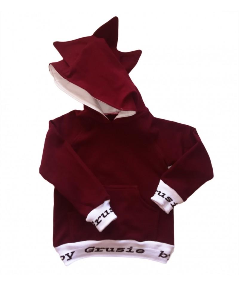 Bluza bordowa z kapturem smoka