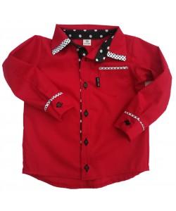 Koszula  czerwona z groszkami