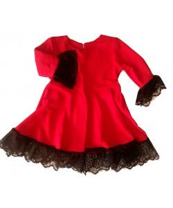 sukienka czerwona dla dziewczynki z czarną koronką