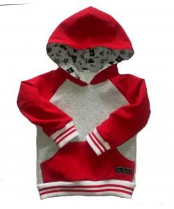 Bluza szaro-czerwona