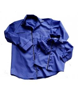 Koszule dla taty i syna ciemno-niebieskie