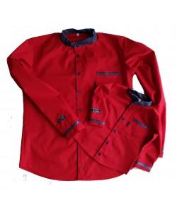 Koszula czerwona ze stójką ganatowa w kropki