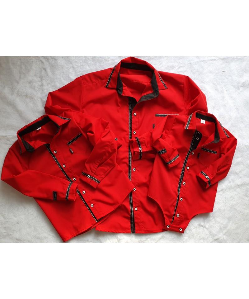 Koszule czerwone z czarną tasiemką, dla taty i syna