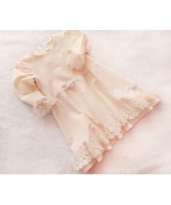 Sukienka kremowa z tiulową koronką