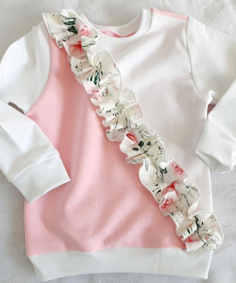 Bluza biało-różowa z falbanką