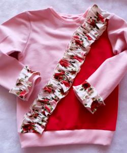 Bluza z falbanką różowo-...