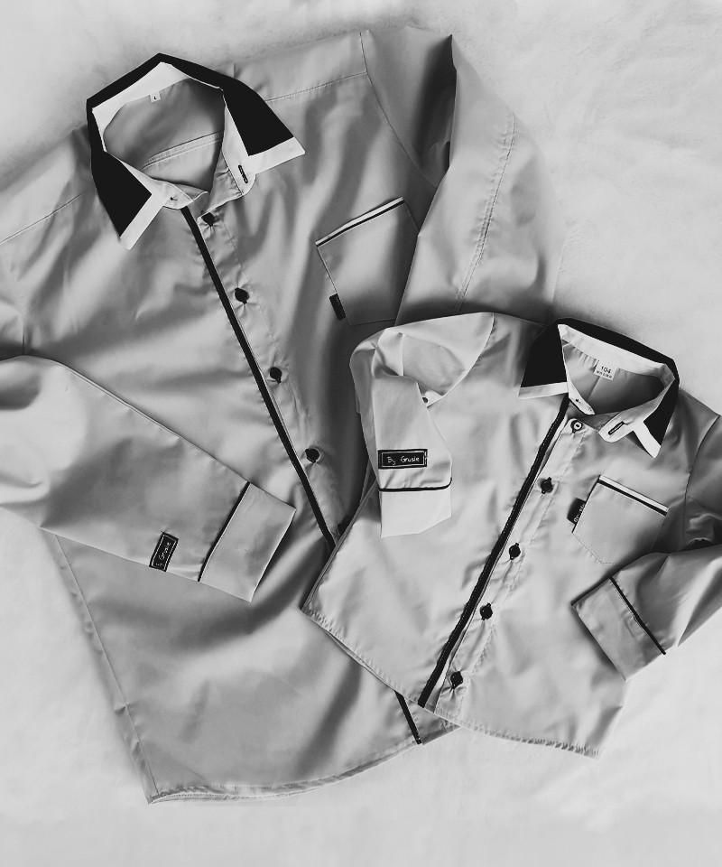 Koszule dla taty i syna, popielate