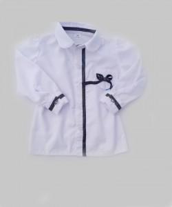 Biała bluzeczka z granatowymi tasiemkami