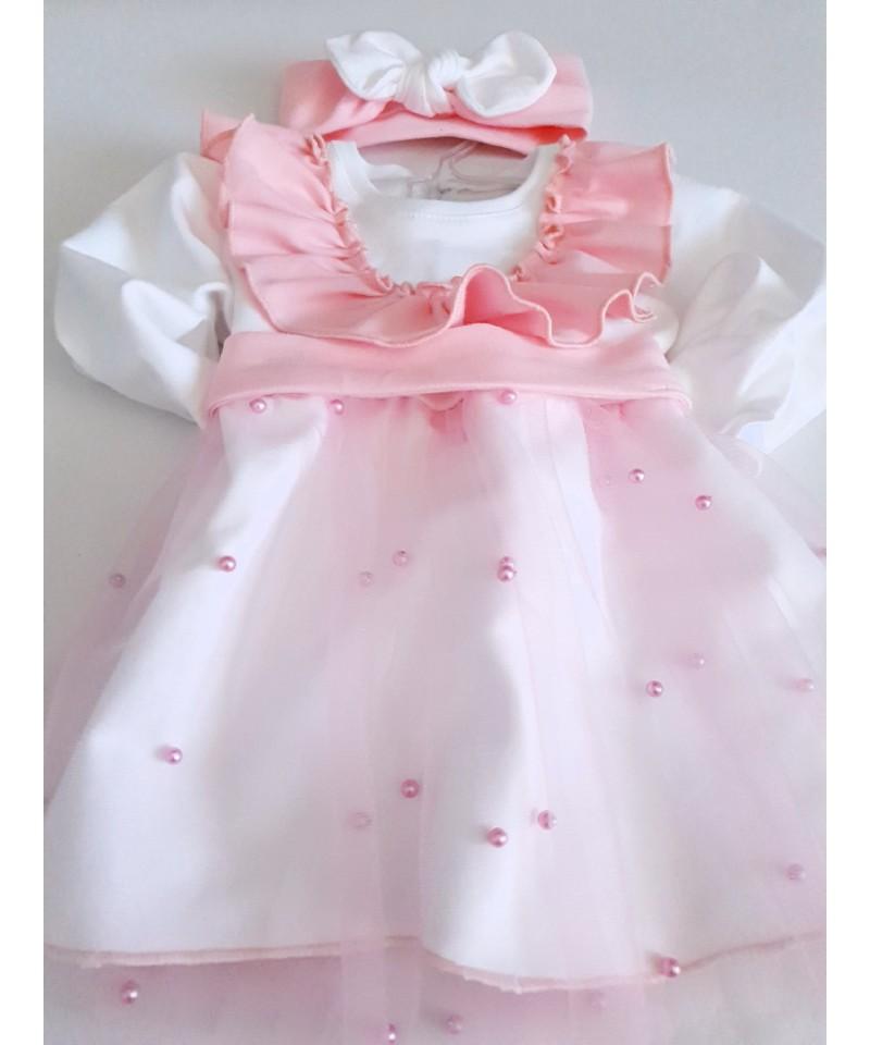Sukienka biało- różowa z tiulem i koralikami