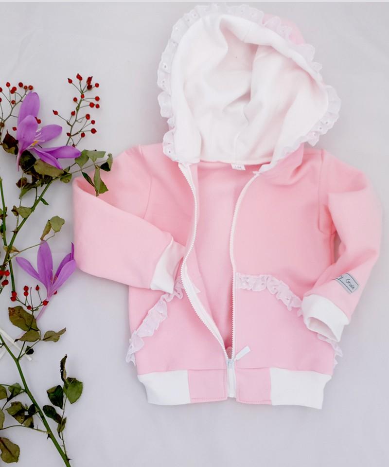 Bluza różowa z białą koronką