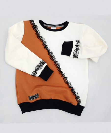 Bluza bejsbolówka biało- czarna