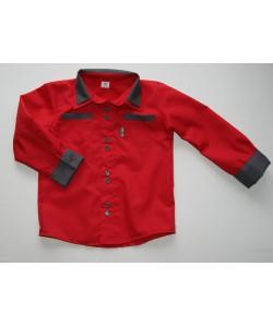 koszula czerwona z popielatym dla taty i syna