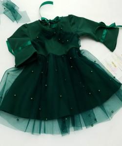 Sukienka w kolorze butelkowej zieleni dla dziewczynki