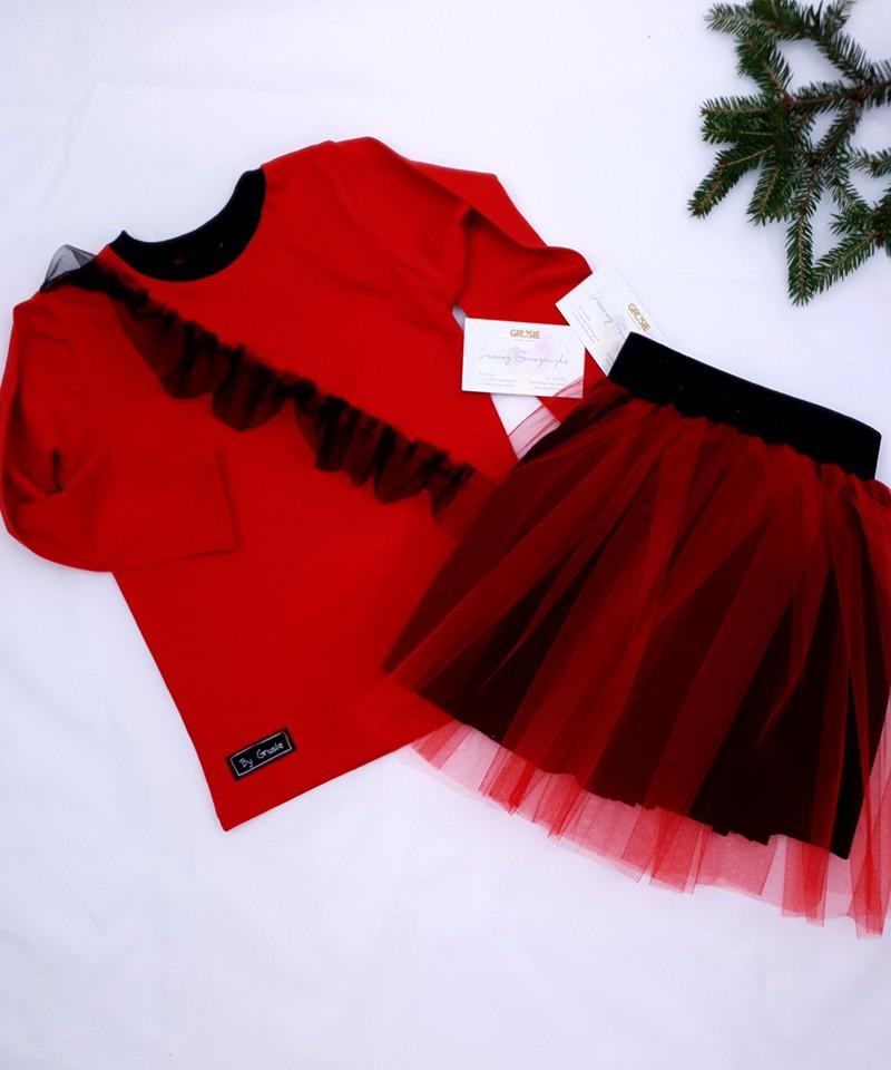 Tiulowa spódniczka z bluzeczką na święta