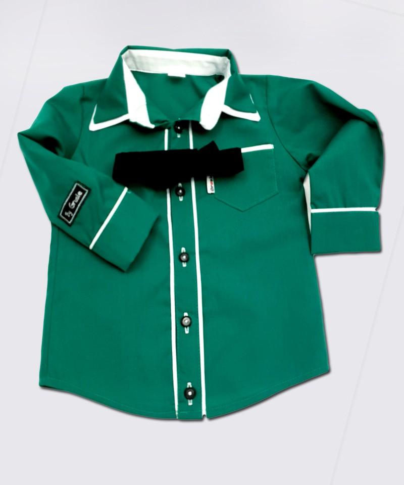 Koszula ciemno-zielona z białymi dodatkami