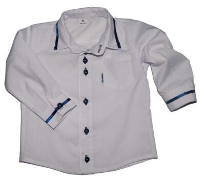 Koszula dla dzieci biała z granatowymi dodatkami