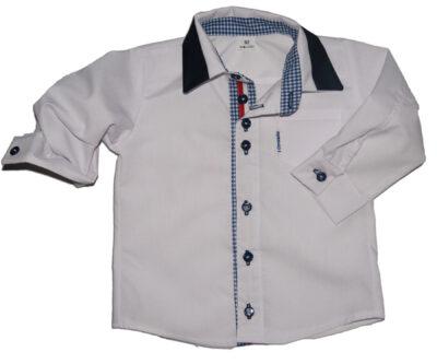 Koszula biała z granatowo-białym kołnierzem