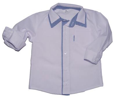 Biała koszula dla dzieci z wykończeniami w kratę