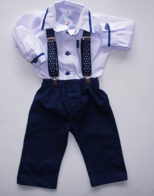 Granatowe spodnie z szelkami