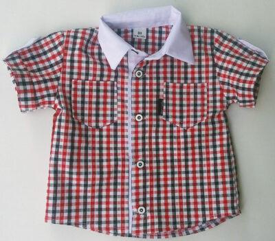 Koszulka w kratę czerwono-czarną