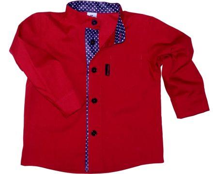 Piękna czerwona koszula z granatową sójką